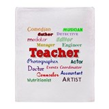 Teachers Wear Many Hats Teach Throw Blanket