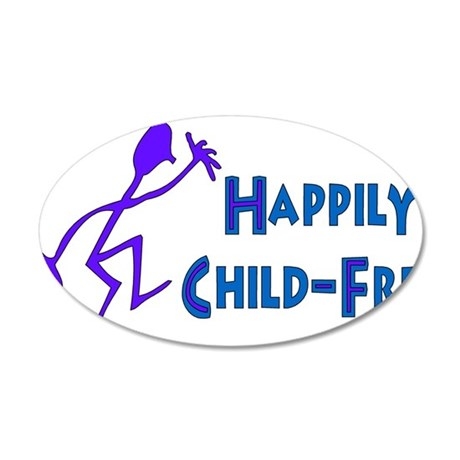Happily Child-Free 22x14 Oval Wall Peel