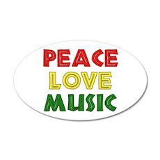 Peace Love Music 22x14 Oval Wall Peel