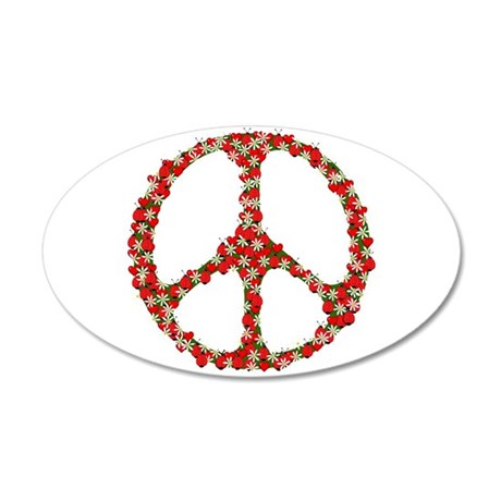 Ladybugs Peace Sign 20x12 Oval Wall Decal