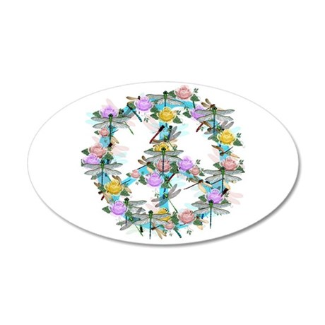 Dragonfly Peace Sign 35x21 Oval Wall Decal