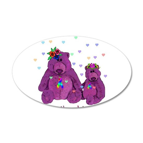 Purple Love Bears 22x14 Oval Wall Peel