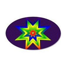 Rainbow Star 38.5 x 24.5 Oval Wall Peel