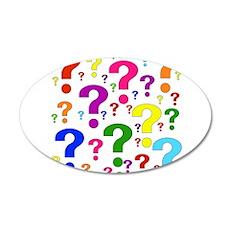 Rainbow Question Marks 38.5 x 24.5 Oval Wall Peel