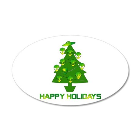 Alien Christmas Tree 35x21 Oval Wall Decal