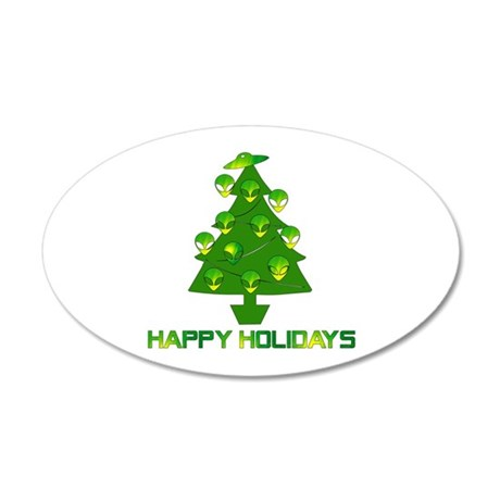 Alien Christmas Tree 20x12 Oval Wall Decal