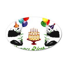 Birthday Pandas 38.5 x 24.5 Oval Wall Peel