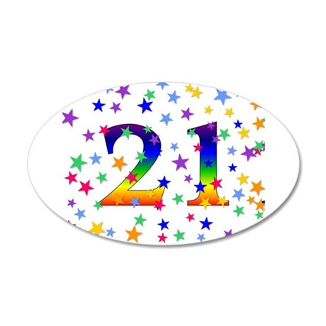 Rainbow Stars 21st Birthday 38.5 x 24.5 Oval Wall