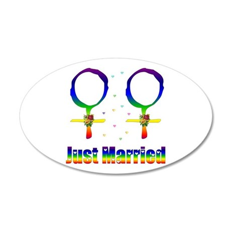 Just Married Lesbians 35x21 Oval Wall Decal