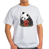 """Panda with a heart"" Ash Grey T-Shirt"