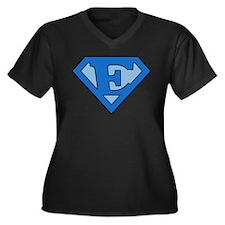 Super Blue E Women's Plus Size V-Neck Dark T-Shirt