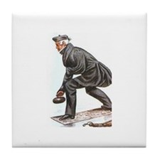 """Old time curler"" Tile Coaster"