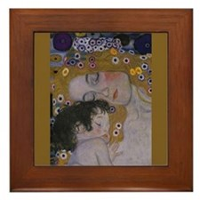 Gustav Klimt Framed Art Tile Mother and child