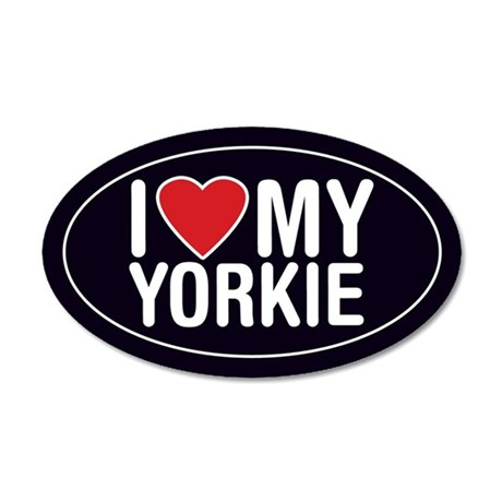 I Love My Yorkie 35x21 Oval Wall Peel/Decal