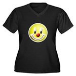Clown Smiley Women's Plus Size V-Neck Dark T-Shirt