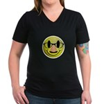 Groucho Smiley Women's V-Neck Dark T-Shirt