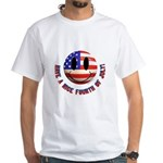 July 4th Smiley White T-Shirt