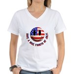 July 4th Smiley Women's V-Neck T-Shirt