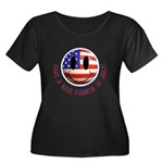 July 4th Smiley Women's Plus Size Scoop Neck Dark