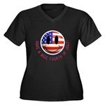July 4th Smiley Women's Plus Size V-Neck Dark T-Sh