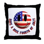 July 4th Smiley Throw Pillow