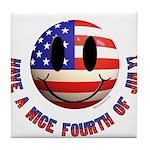 July 4th Smiley Tile Coaster
