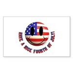July 4th Smiley Sticker (Rectangle 50 pk)
