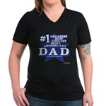 Greatest Coolest DAD Women's V-Neck Dark T-Shirt