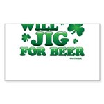 Will Jig For Beer! Sticker (Rectangle)