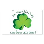 Go Green... One Beer at a Tim Sticker (Rectangle 1