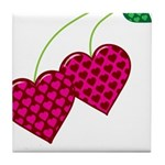 Valentine's Day Cherries Tile Coaster