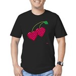 Valentine's Day Cherries Men's Fitted T-Shirt (dar