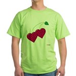 Valentine's Day Cherries Green T-Shirt