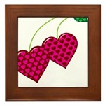 Valentine's Day Cherries Framed Tile