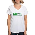 Go Green! Women's V-Neck T-Shirt