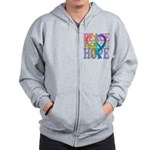 PeaceLoveRibbon_4 Zip Hoodie