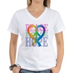 PeaceLoveRibbon_4 Women's V-Neck T-Shirt