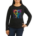 PeaceLoveRibbon_4 Women's Long Sleeve Dark T-Shirt