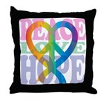 PeaceLoveRibbon_4 Throw Pillow