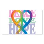 PeaceLoveRibbon_4 Sticker (Rectangle 10 pk)