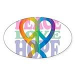 PeaceLoveRibbon_4 Sticker (Oval 50 pk)