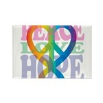 PeaceLoveRibbon_4 Rectangle Magnet (10 pack)