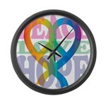 PeaceLoveRibbon_4 Large Wall Clock