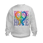 PeaceLoveRibbon_4 Kids Sweatshirt