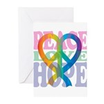 PeaceLoveRibbon_4 Greeting Cards (Pk of 10)