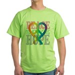 PeaceLoveRibbon_4 Green T-Shirt