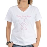 PeaceLoveRibbon_2 Women's V-Neck T-Shirt