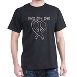 PeaceLoveRibbon_2 Dark T-Shirt