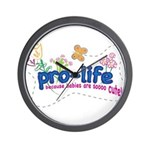 Pro-Life Flowers & Butterfly Wall Clock