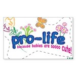 Pro-Life Flowers & Butterfly Sticker (Rectangle)